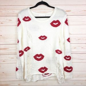 Love Tree Kisses Distressed Ripped Ivory Sweater